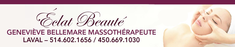 Éclat Beauté - Geneviève Bellemare Massothérapeute Laval